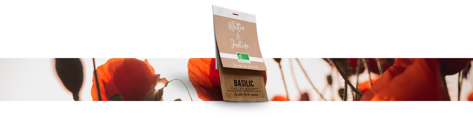 Cadeau de mariage personalisé - Sachets de graines Bio Dr. Jonquille & Mr. Ail