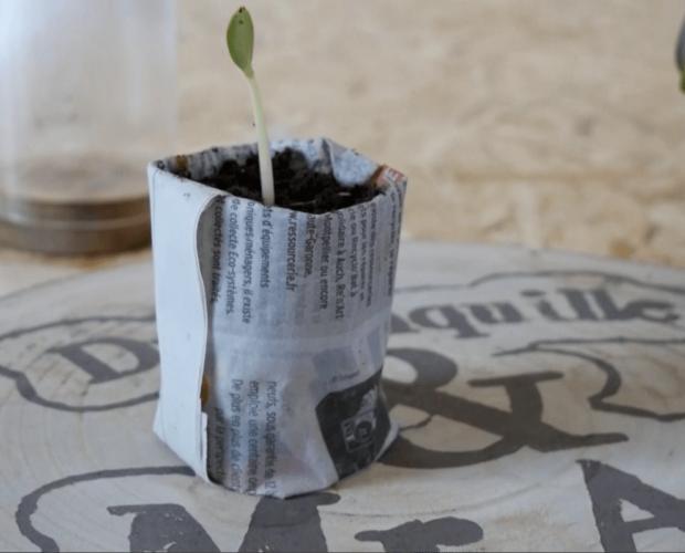 Tutoriel Dr. Jonquille & Mr. Ail - vidéo de fabrication de pots en papier journal