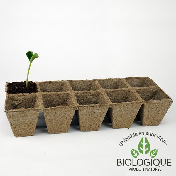 Pots jardinages Biodégradables et BIO strips 10 pots