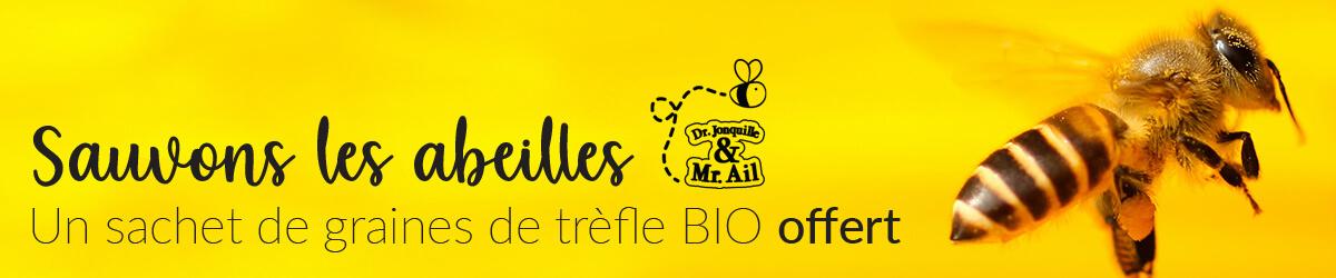 Dr. Jonquille & Mr. Ail - Sauvons les abeilles - Un sachet de graines de trèfle BIO offert par commande