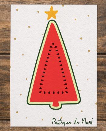 Dr. Jonquille & Mr. Ail - carte Pastèque de Noël