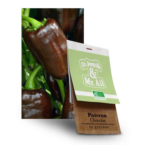 Graines Bio - Poivron Chocolat - Dr. Jonquille & Mr. Ail